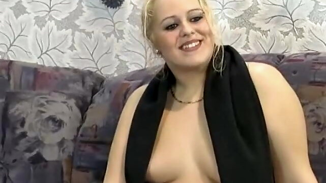 blonde Chubby German blonde fucked hard on a couch blowjob