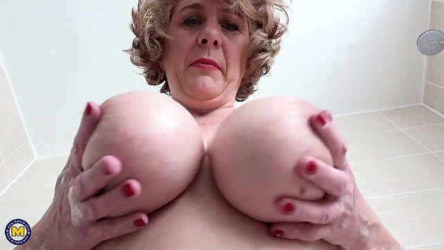 bbw British mom with perfect big boobs mature