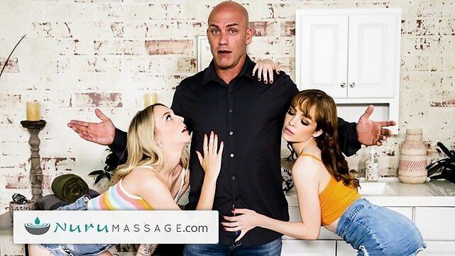 nurumassage NuruMassage Threesome Step-Family Competition To Get A Masseuse Summer Job massage